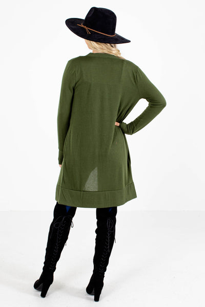 Women's Green Long Sleeve Boutique Cardigans