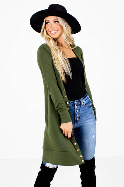 Green Snap Button-Up Front Boutique Cardigans for Women