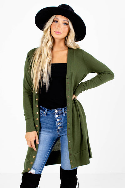 Green Brass Button Boutique Cardigans for Women