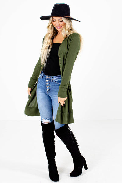 Green Cute and Comfortable Boutique Cardigans for Women