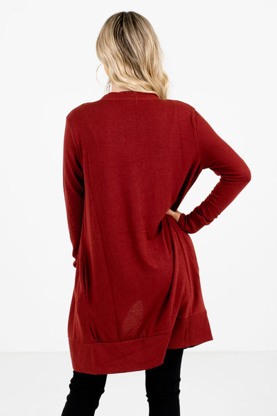 Women's Rust Red High-Quality Boutique Cardigan