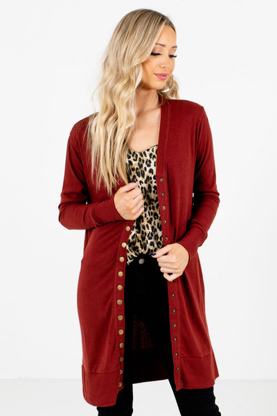 Women's Rust Red Longer Length Boutique Cardigan