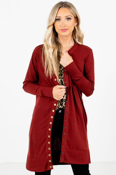 Rust Red Snap Button-Up Front Boutique Cardigans for Women