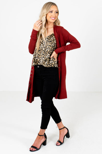 Rust Red Cute and Comfortable Boutique Cardigans for Women