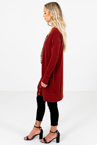 Rust Red Boutique Cardigans with Pockets for Women