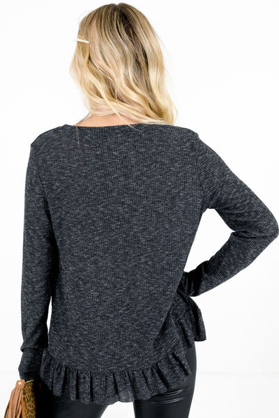 Women's Charcoal Gray Long Sleeve Boutique Top