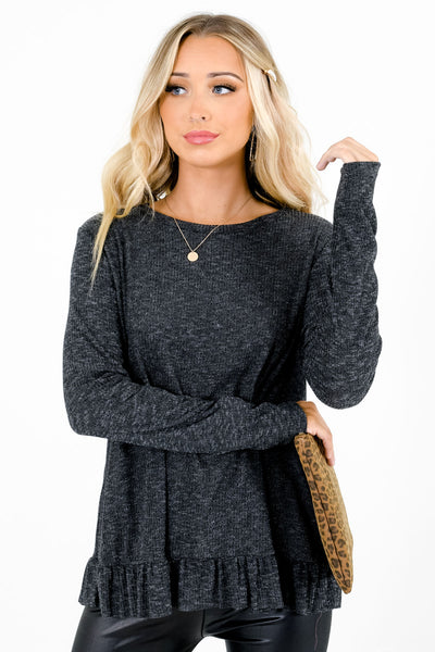 Women's Charcoal Gray Relaxed Flowy Fit Boutique Tops