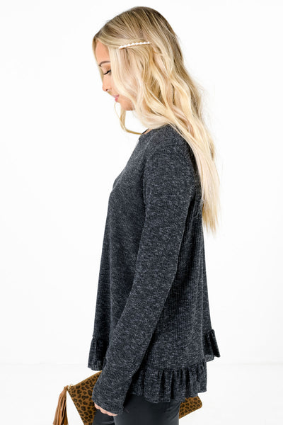 Charcoal Gray Soft and Ribbed Material Boutique Tops for Women