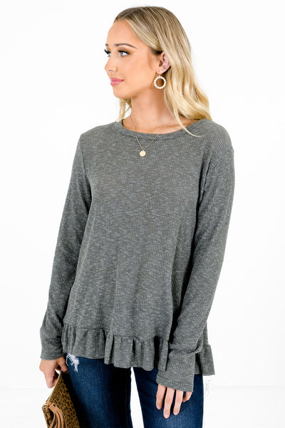 Women's Dark Green Casual Everyday Boutique Tops