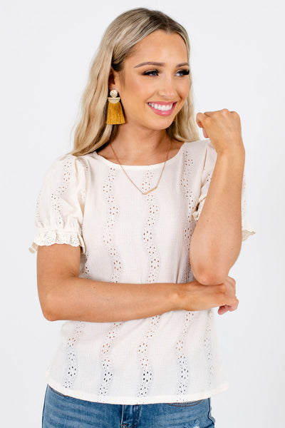 Cream Cute and Comfortable Boutique Blouses for Women