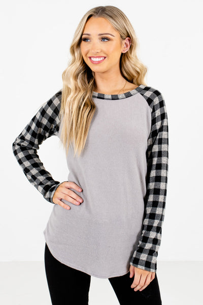 Gray Boutique Tops with Plaid Patterned Sleeve for Women