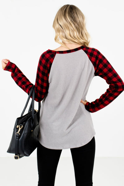 Women's Red Soft High-Quality Boutique Tops