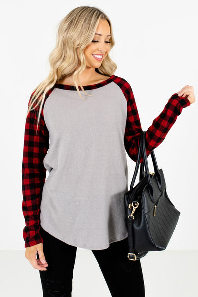 Women's Red Warm and Cozy Boutique Tops