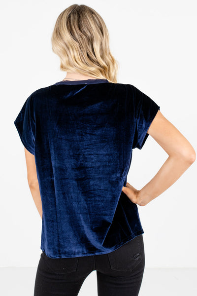 Women's Navy Blue Crochet Accented Boutique Tops