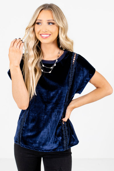 Women's Navy Blue Casual Everyday Boutique Tops