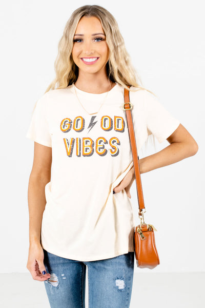 Women's Cream Casual Everyday Boutique Tees