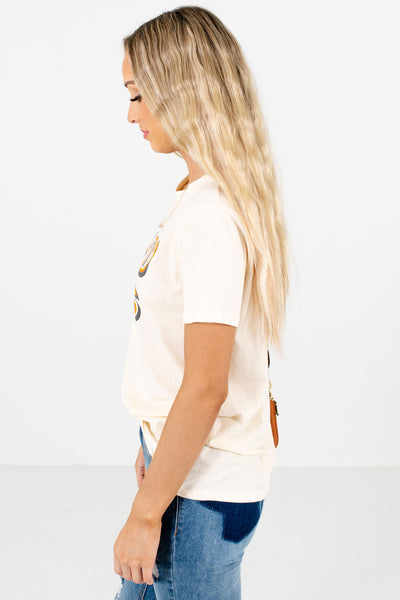 Cream Bolt Graphic Boutique T-Shirts for Women