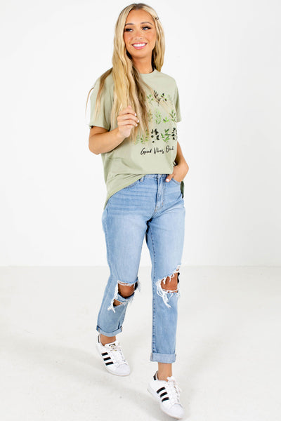 Women's Green Cute and Comfortable Boutique Graphic T-Shirt