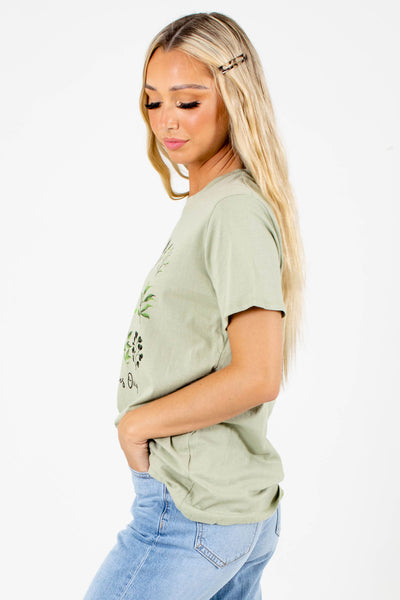 Green Casual Everyday Boutique Graphic Tees for Women
