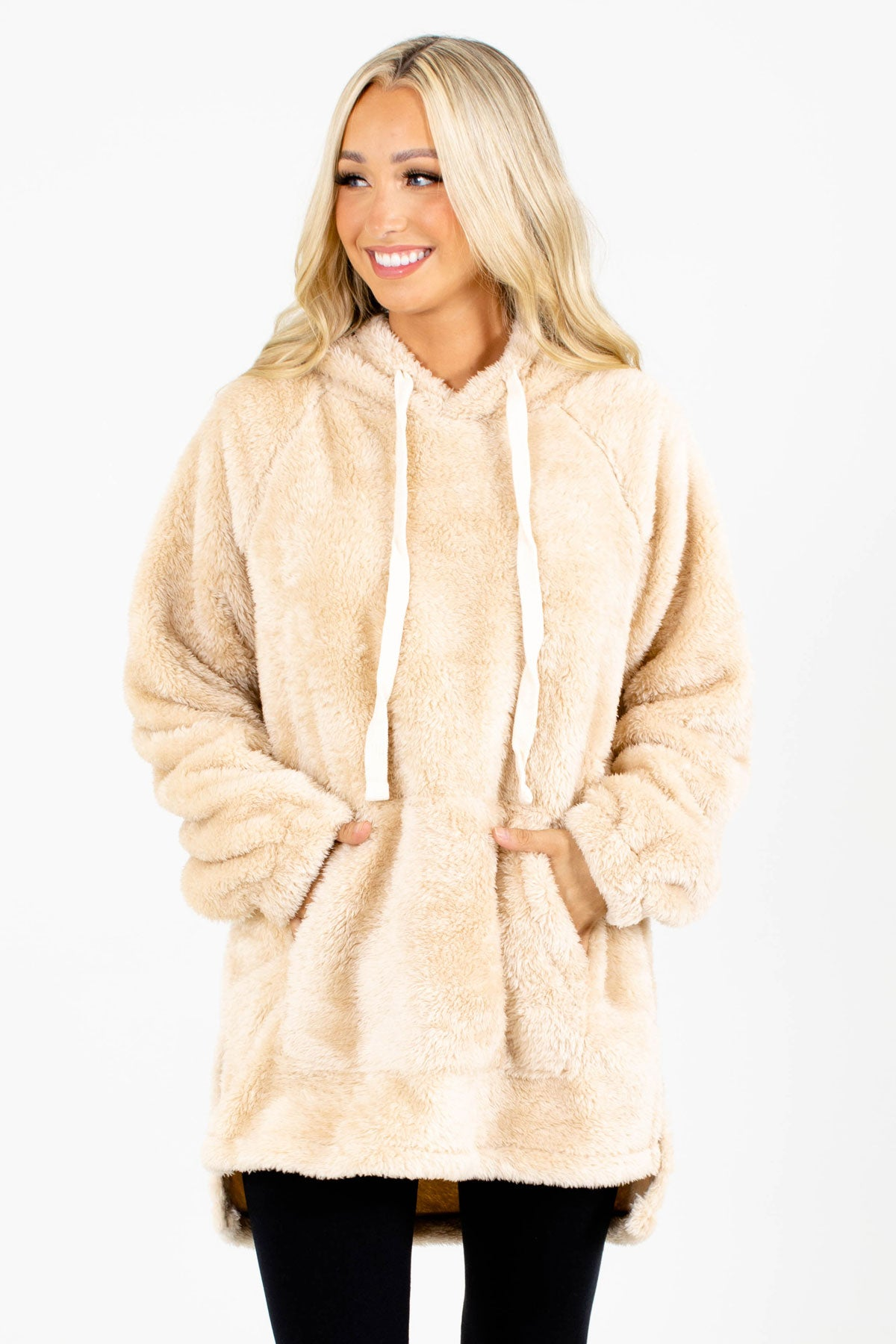 Beige Fuzzy Boutique Hoodies for Women
