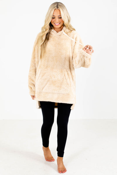 Beige Cute and Comfortable Boutique Hoodies for Women