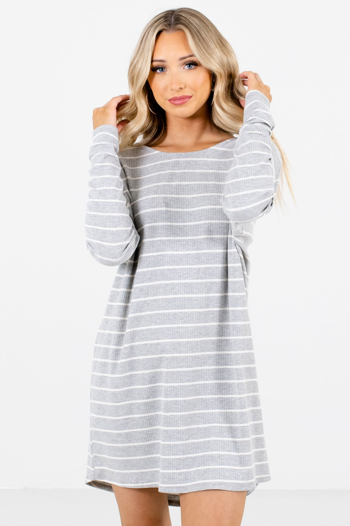 Heather Gray and White Striped Boutique Mini Dresses for Women