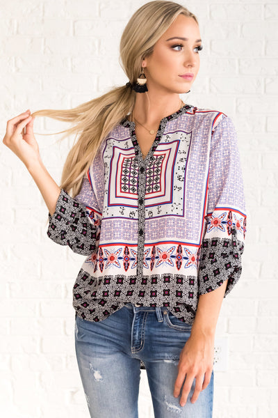 Red Abstract Peasant Blouses and Tunic Tops for Going Out