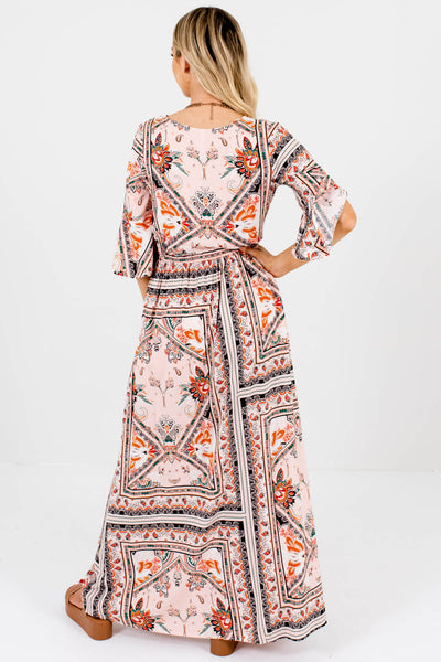 Pink Scarf Print Abstract Boho Maxi Dresses for Women