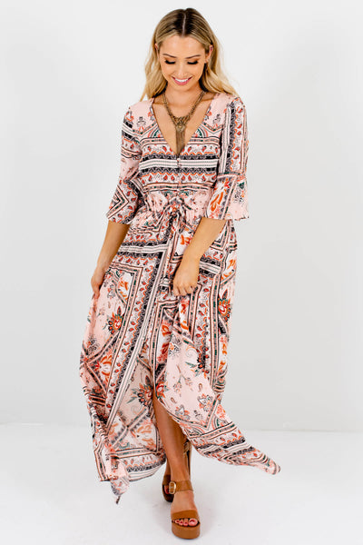 Pink Multicolored Abstract Boho Maxi Dresses for Women