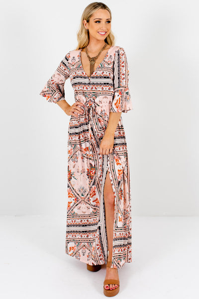Pink Abstract Scarf Print Boho Boutique Maxi Dresses for Women