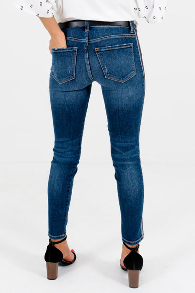 Women's Dark Wash Denim Blue Contrasting Striped Sides Boutique Jeans