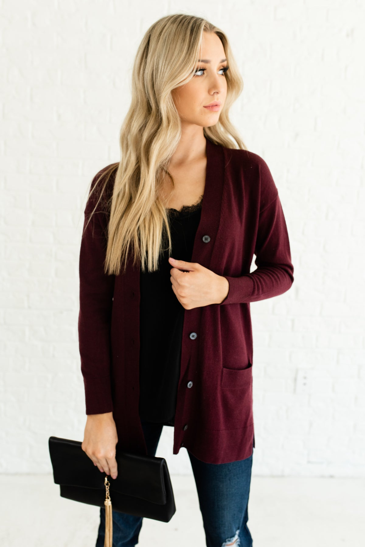 4182a19b9c Burgundy Red Button-up Boutique Cardigans for Women