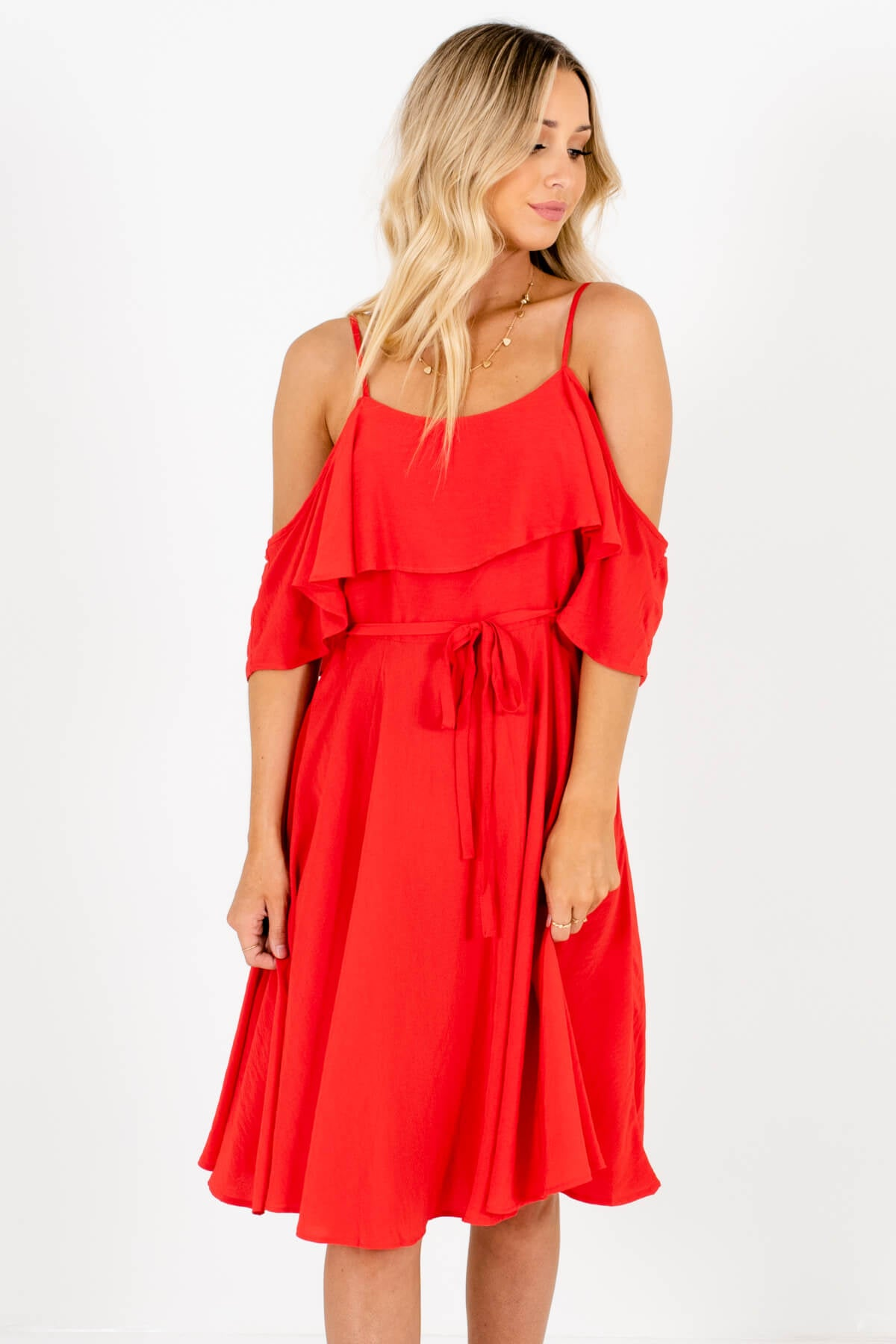Red Cold Shoulder Style Boutique Knee-Length Dresses for Women