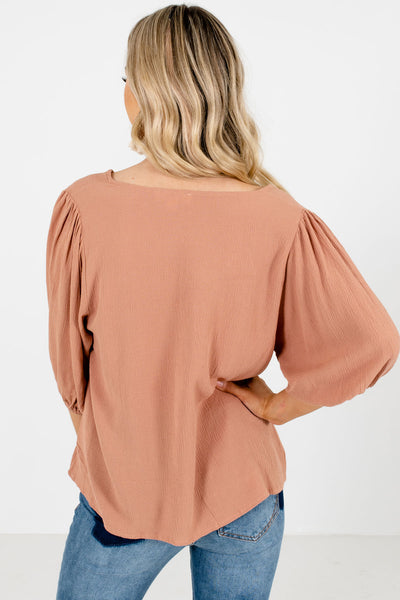Women's Muted Orange 3/4 Length Sleeve Boutique Blouse