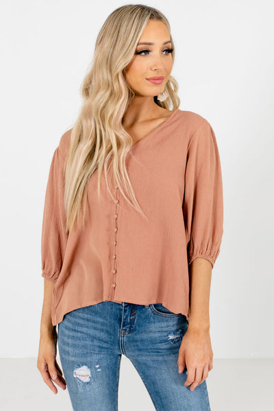 Muted Orange Casual Everyday Boutique Blouses for Women
