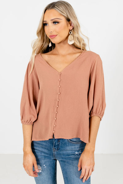 Women's Muted Orange V-Neckline Boutique Blouse