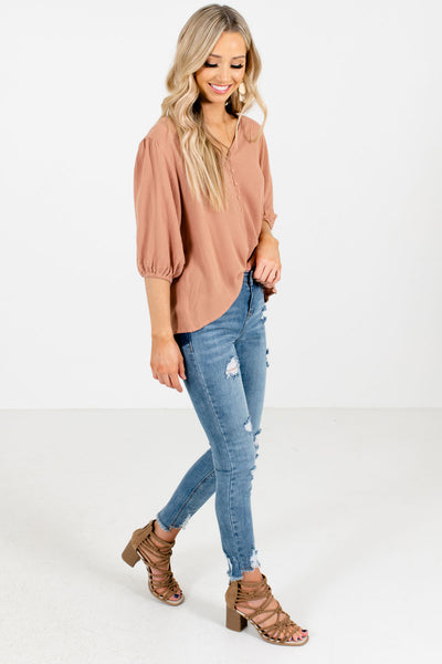 Muted Orange Cute and Comfortable Boutique Blouses for Women