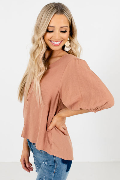 Muted Orange High-Low Hem Boutique Blouses for Women