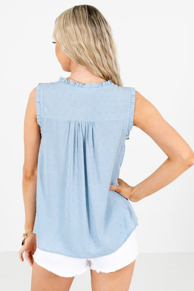 Women's Blue Ruffle Detailed Boutique Blouse