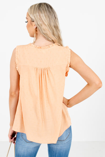 Women's Orange Lightweight High-Quality Material Boutique Blouse