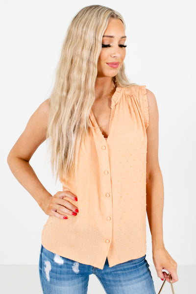Orange Pleated Detailed Boutique Blouses for Women