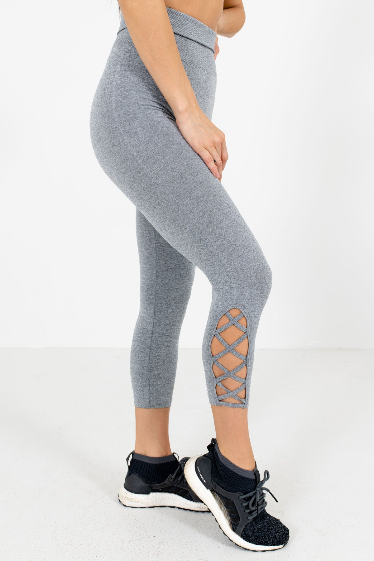 Heather Gray High Waisted Style Boutique Active Leggings for Women
