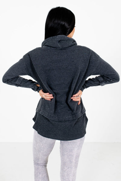Women's Charcoal Gray High-Low Hem Boutique Active Hoodie