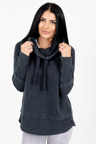 Charcoal Gray Cowl Neck Style Boutique Active Hoodies for Women