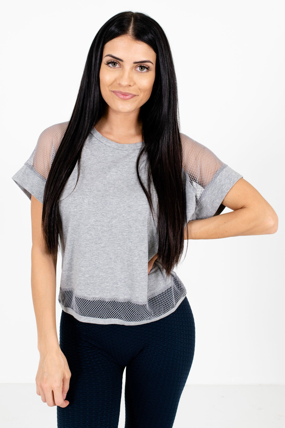 Heather Gray Semi-Sheer Mesh Accented Boutique Active Tees for Women