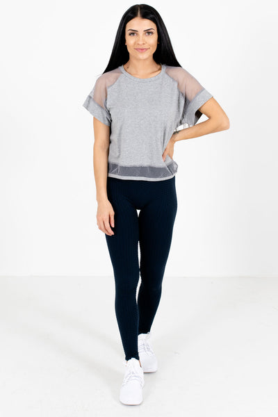 Heather Gray Round Neckline Boutique Active Tees for Women