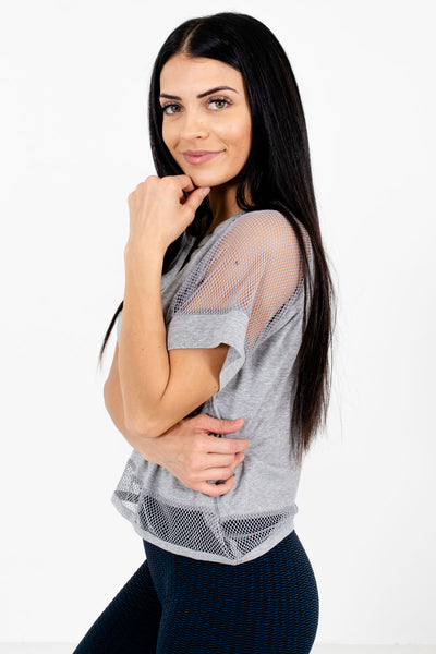 Heather Gray Cute and Comfortable Boutique Active Tees for Women