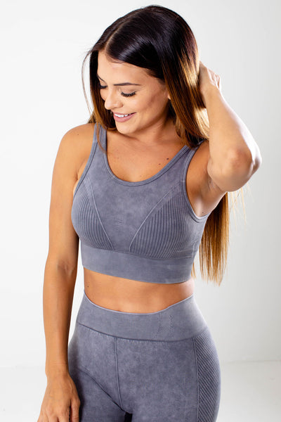 Gray Removable Cup Boutique Sports Bras for Women