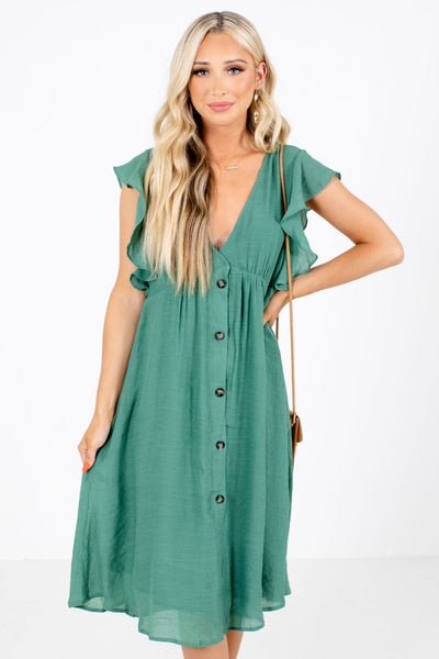 Green Button-Up Front Boutique Midi Dresses for Women