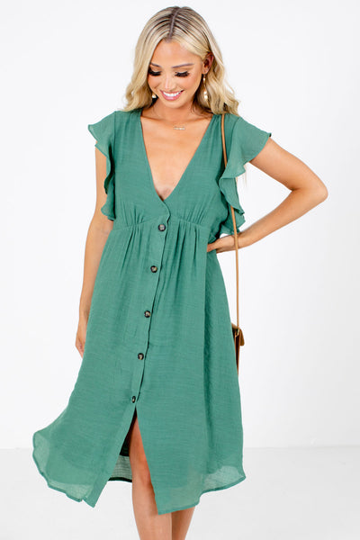 Women's Green Pleated Accented Boutique Midi Dress